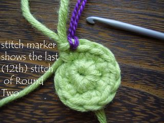 Pic 7 stitch marker shows last (12th) stitch of Rnd 2