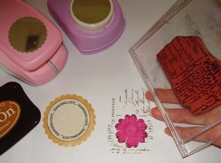 Brown STAZON text stamping flower