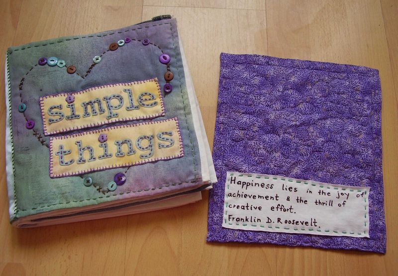 Back of mini quilt and SIMPLE THINGS book IACW July web