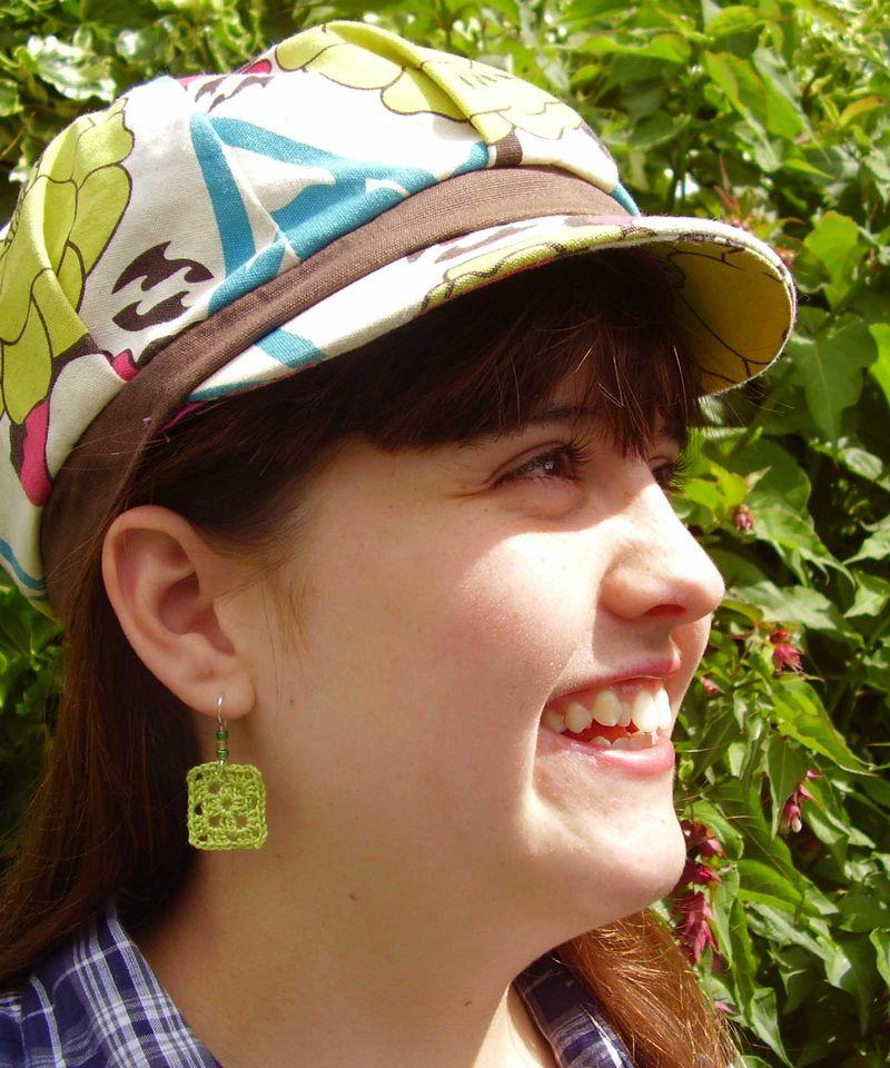 Smiling model crochet earings web