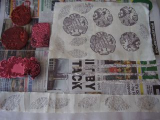 Stamped flowers and leaves web