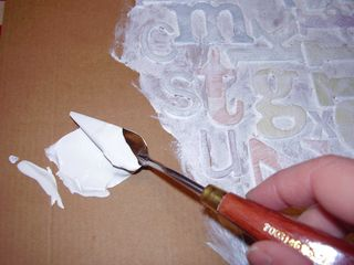 Thick gesso with a pallette knife