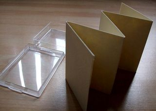 Empty box and folded card