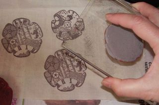 Stamping flowers on canvas web