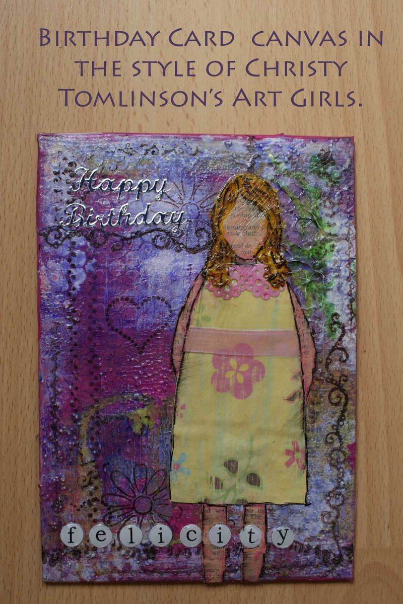 Birthday card canvas in the style of Christy Tomlinsons Art Girls web