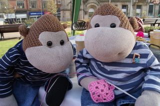 Monkeys crochet close up web