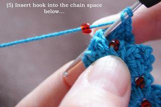 5 insert hook into ch space below web