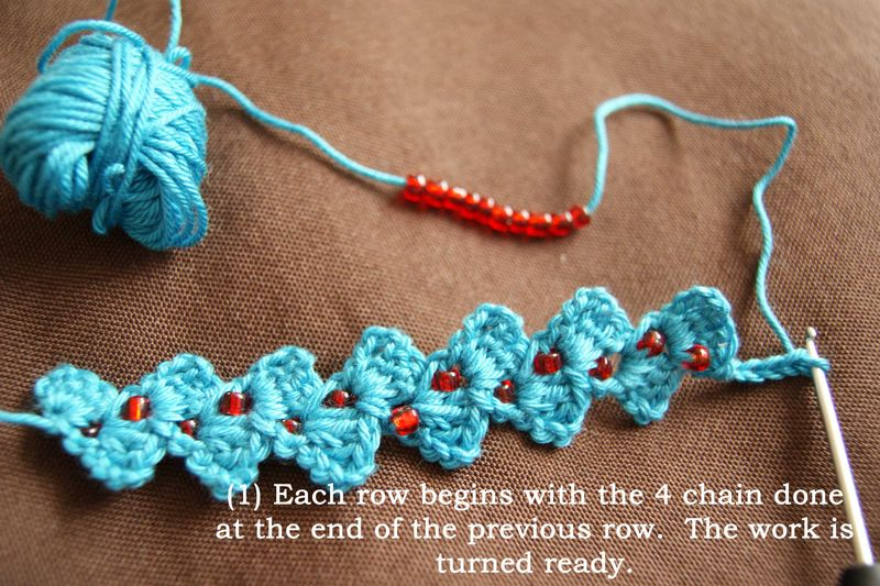 1 begin with 4 chain stitches web