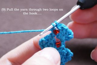 9 pull yarn through two loops on hook web