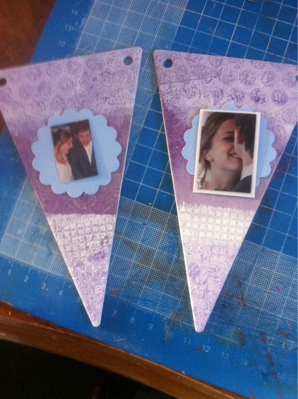 Bunting made with a home made gelli plate