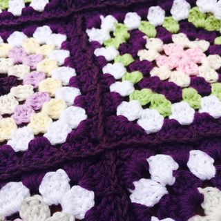 Purple blanket close up of join