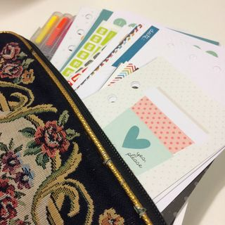 Planner purse with pens and journal cards