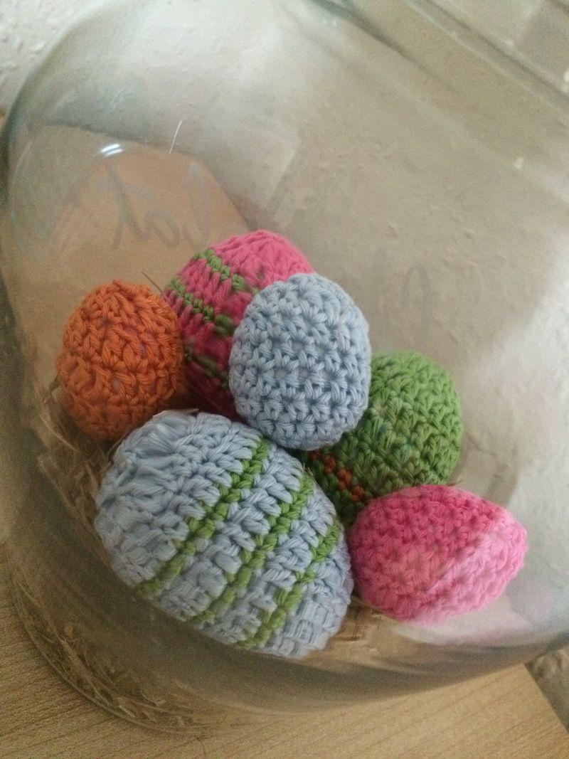Crochet eggs close up